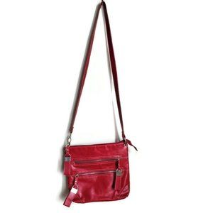 Red Vegan Crossbody Purse with Large Tab Accents